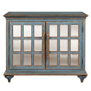 Home Meridian Blue Bevel Mirror Front Accent Chest