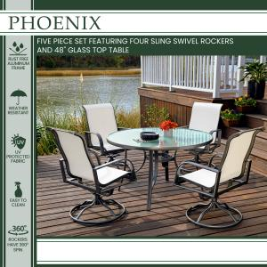Hanover Phoenix 5-Piece Dining Set in White with 4 Sling Swivel Rockers and 48 in. Round Glass-Top Table