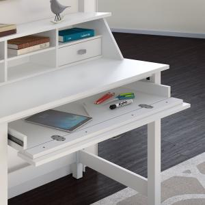 Bush Furniture Broadview Computer Desk with 2 Drawer Pedestal and Organizer in Pure White