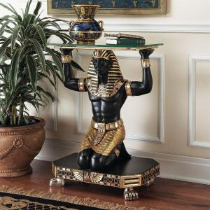 Design Toscano Servant to the Pharaoh Glass-Topped Console Table