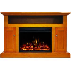 Cambridge Sorrento Electric Fireplace Heater with 47-In. Teak TV Stand, Enhanced Log Display, Multi-Color Flames and a Remote Control