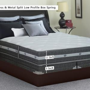 WAYTON, 12″ Medium Firm Foam Encased Eurotop Pillowtop Memory Foam Gel Pocketed Coil Innerspring Mattress And 4″ Split Metal Box Spring/Foundation Set, Spring Air Collection, Queen Size