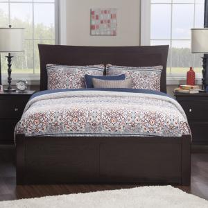 Metro Full Platform Bed with Flat Panel Foot Board and Twin Size Urban Trundle Bed in Espresso