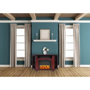 Cambridge Stratford 56″ Electric Corner Fireplace Heater with Enhanced Log and Grate Display