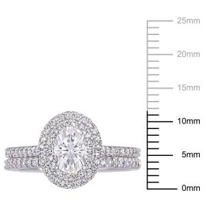 1 Carat T.G.W. Moissanite and 2/5 Carat T.W. Diamond 14k White Gold Oval Halo Bridal Set