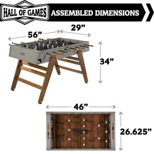 Hall of Games Kinwood 56″ Foosball Soccer Table, Accessories Included