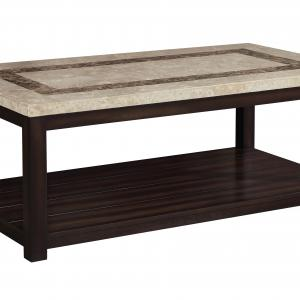Furniture of America Calvin Marble Top Coffee Table, Dark Walnut