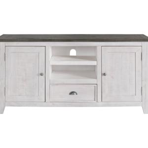 Martin Svensson Home Monterey Solid Wood TV Stand, White with Grey Top