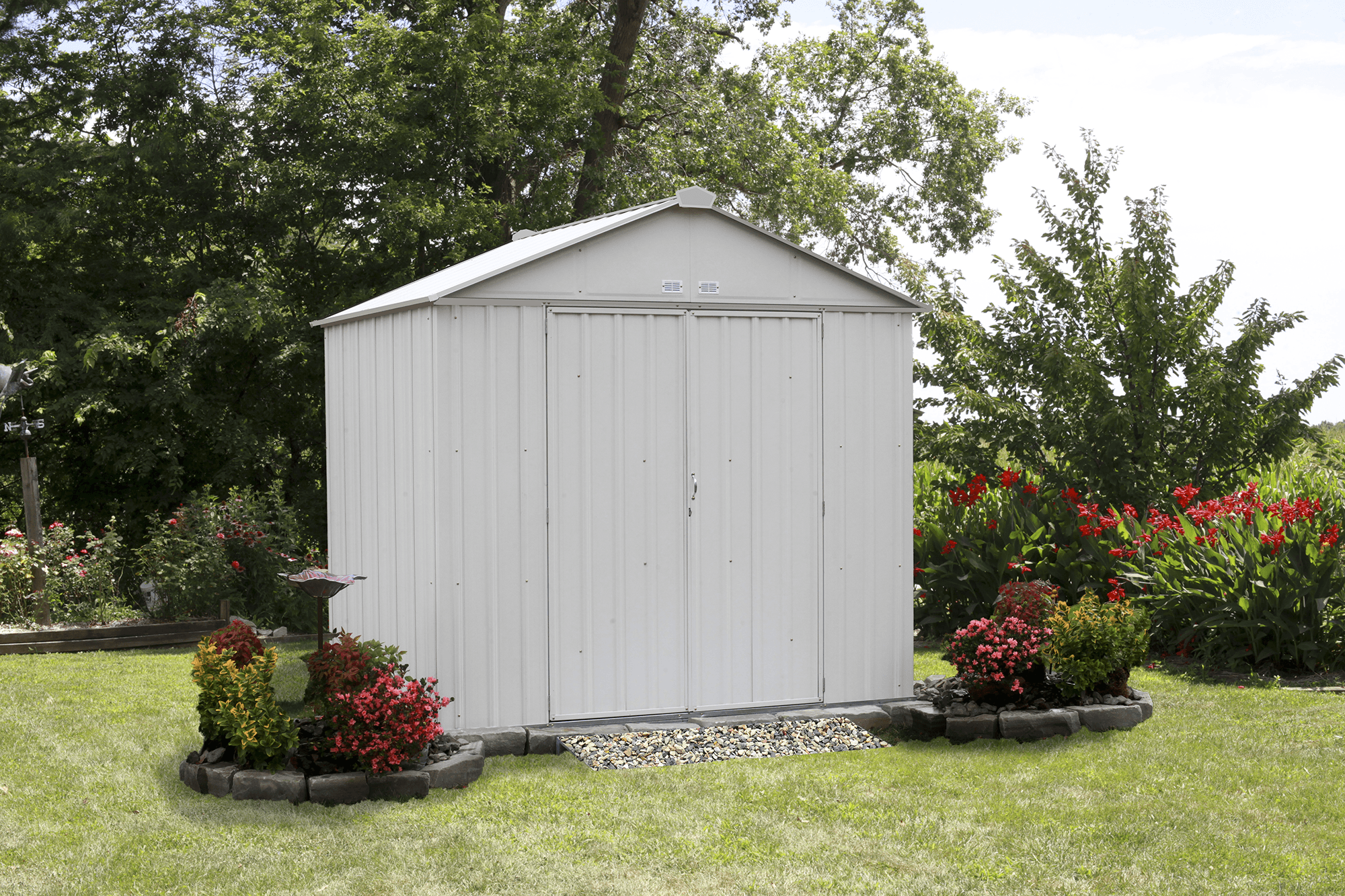 Steel Storage Shed 8 x 7 ft. Galvanized High Gable Cream