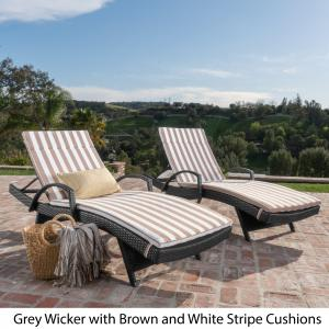 Anthony Outdoor Wicker Armed Chaise Lounges with Cushions, Set of 2, Grey, Brown and White Stripe