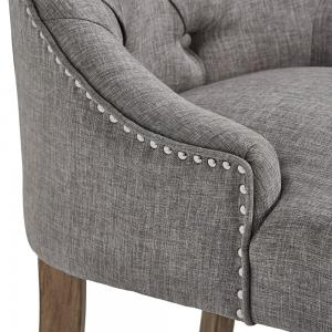 Chelsea Lane Curved Back Linen Tufted Dining Chair, Set of 2, Gray