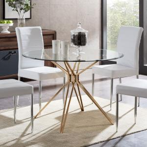 Atticus Round Glass Dining Table, Multiple Finishes
