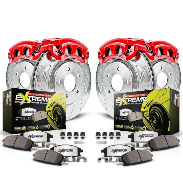 Power Stop Front and Rear Z26 Street Warrior Brake Pad and Rotor Kit with Red Powder Coated Calipers KC2840-26