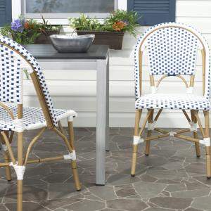 Safavieh Salcha Outdoor French Bistro Side Chair, Set of 2-Blue/White