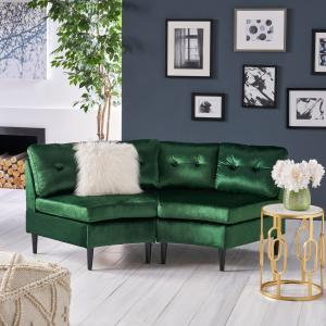 Noble House Abram Glam 2 Seater Velvet Modular Sectional Sofa, Emerald