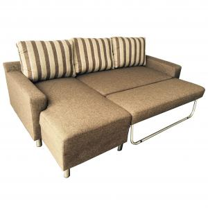 Kachy Modern Fabric Upholstered Left Facing Convertible Sectional Sofa Sleeper, Brown, S0066