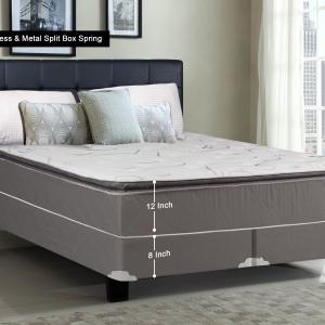 WAYTON, 12-inch Fully Assembled Soft Pillow Top Innerspring Mattress and Split Metal Box Spring/foundation set, |King Size| Mink & White Color