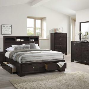71″ X 63″ X 48″ Espresso Rubber Wood Queen Bed With Storage