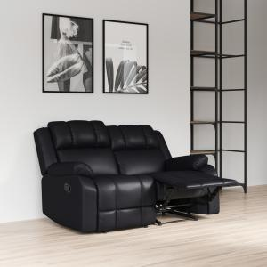 Relax-A-Lounger Galway Reclining Loveseat, Caviar Black Faux Leather