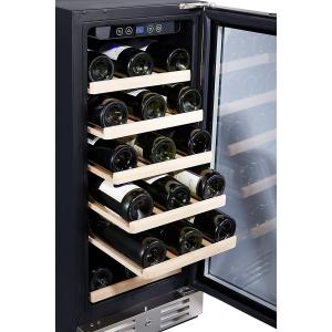 """Kalamera 15"""" Wine Cooler 30 Bottle Built-in or Freestanding with Stainless Steel & Double-Layer Tempered Glass Door and Temperature Memory Function"""