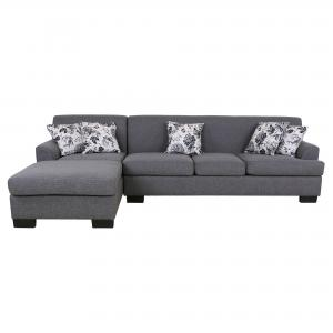 Allen Modern Fabric Upholstered 2-Pc Configurable Left or Right Facing Sectional Sofa, Grey