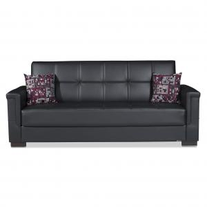 Pro leatherette upholstery sofa sleeper bed with storage
