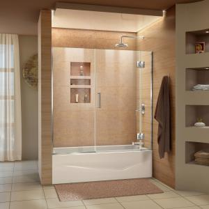 DreamLine Unidoor-X 58-58 1/2 in. W x 58 in. H Frameless Hinged Tub Door in Chrome