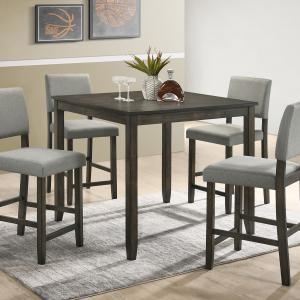 Crown Mark Derick Grey 5-Pk Counter Height Dining Set, 36″ table with 4 chairs