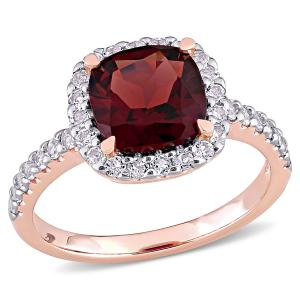 4-1/10 Carat T.G.W. Garnet and White Topaz 10k Rose Gold Halo Cocktail Ring