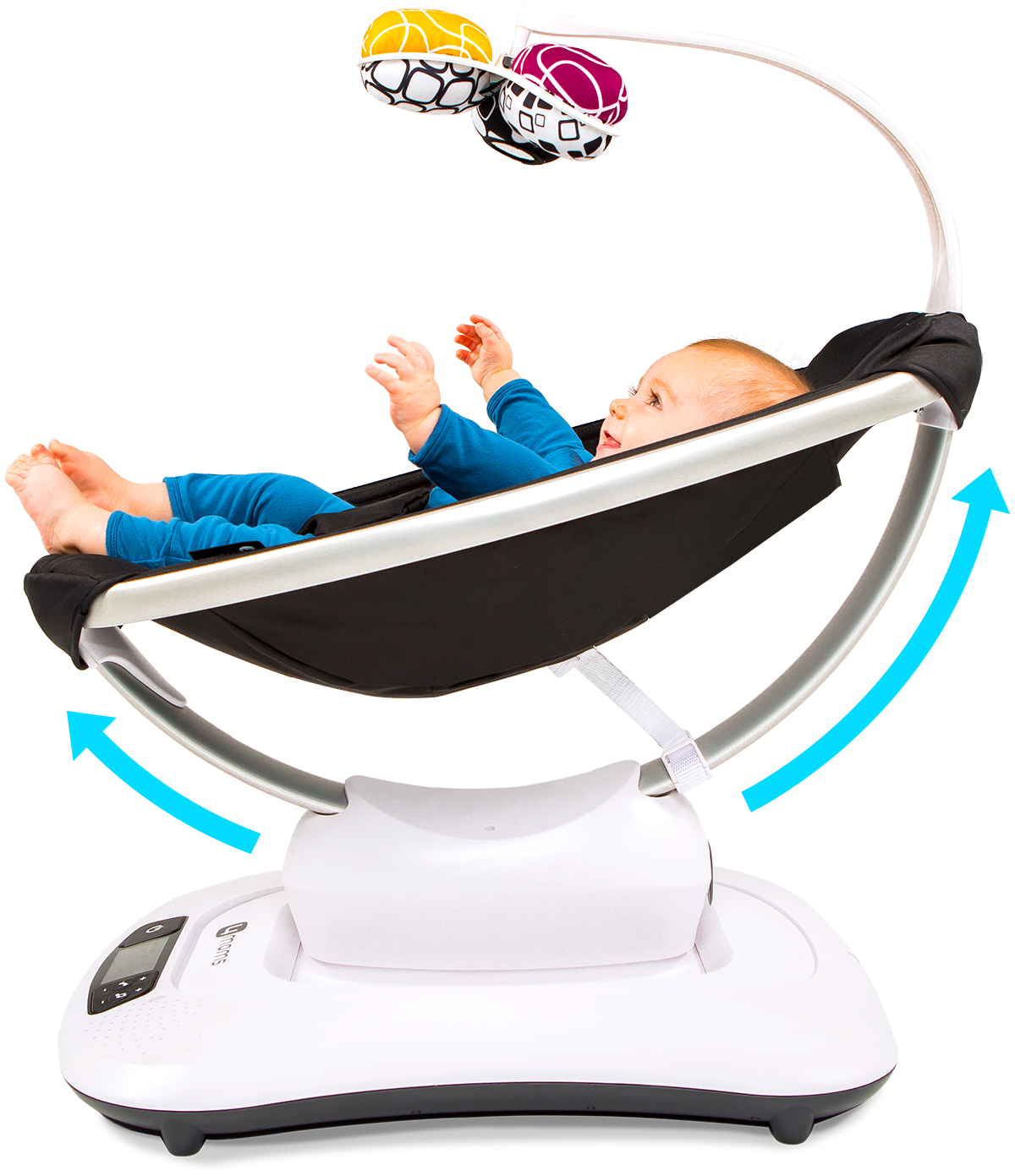 4moms® mamaRoo®4 | 5 unique motions | Bluetooth Enabled Baby Swing | Dark Grey Cool Mesh