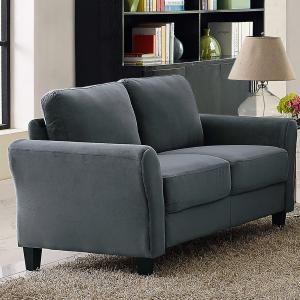 Lifestyle Solutions Alexa 2-Seat Rolled Arm Microfiber Loveseat, Dark Grey