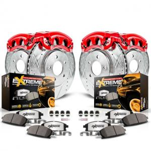 Power Stop Front and Rear Z36 Truck & Tow Brake Kit with Red Powder Coated Calipers KC1887-36