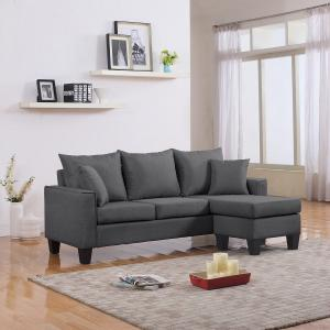 Mobilis Modern Linen Fabric Small Space Sectional with Reversible Chaise, Grey