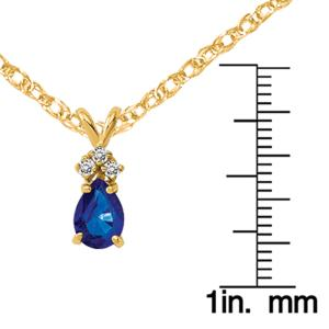 Primal Gold 14 Karat Yellow Gold 7x5mm Pear Sapphire AA Diamond pendant with 18-inch Cable Rope Chain