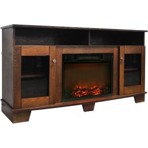 Cambridge Savona Electric Fireplace Heater with 59″ Entertainment Stand and Charred Log Display