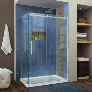 DreamLine Enigma Air 34 3/4 in. D x 48 3/8 in. W x 76 in. H Frameless Sliding Shower Enclosure in Brushed Stainless Steel