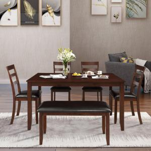 EUROCO 6-Piece Dining Room Table Set with 4 Ladder Chairs and Bench, Brown
