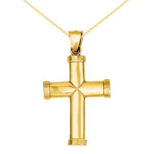 Primal Gold 14 Karat Yellow Gold Polished Latin Cross Pendant with 18-inch Cable Rope Chain