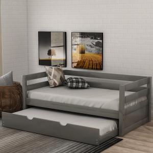 EUROCO Solid Wood Daybed with Trundle, Twin, Grey