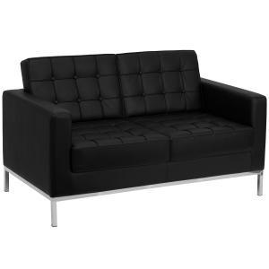 Flash Furniture HERCULES Lacey Series Contemporary Black LeatherSoft Loveseat with Stainless Steel Frame