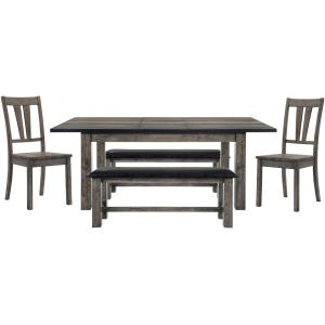 Cambridge Drexel Dining 5-Piece Set: Table, Two Wooden Side Chairs and Two Benches