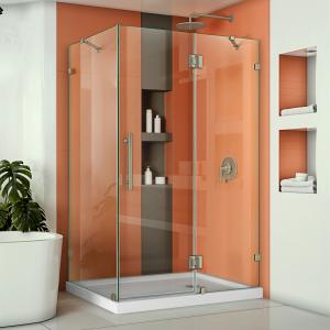 DreamLine Quatra Lux 34 1/4 in. D x 46 3/8 in. W x 72 in. H Frameless Hinged Shower Enclosure in Brushed Nickel