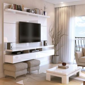 Manhattan Comfort City 2.2 Floating Wall Theater Entertainment Center in White Gloss
