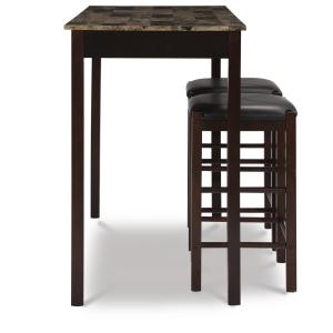 Linon Tavern Collection 3-Piece Table Set with 25″ Stools, Espresso