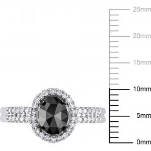 1 Carat T.W. Oval and Round-Cut Black and White Diamond 14kt White Gold Halo Engagement Ring