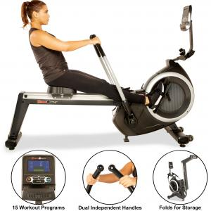 FITNESS REALITY 4000MR Magnetic Rower Rowing Machine with 15 Workout Programs