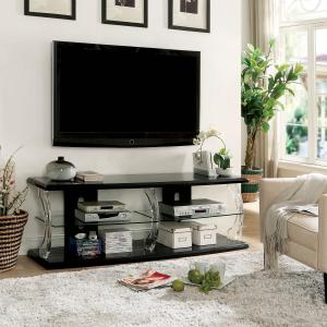 Furniture of America Vedot Contemporary LED TV Stand, 60″, Black and Clear