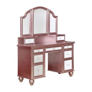 Furniture of America Stella Contemporary 3-Piece Vanity Set, Rose Gold