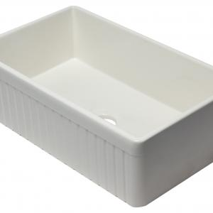 ALFI brand AB532-B 33″ Biscuit Single Bowl Fluted Apron Fireclay Farm Sink