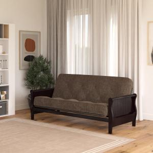 DHP Wood Arm Futon with Espresso Finish and 8″ Coil Mattress, Gray Linen